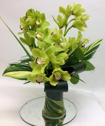 Stylized Cymbidium Orchid Arrangement In Waterford Michigan Jacobsen's Flowers